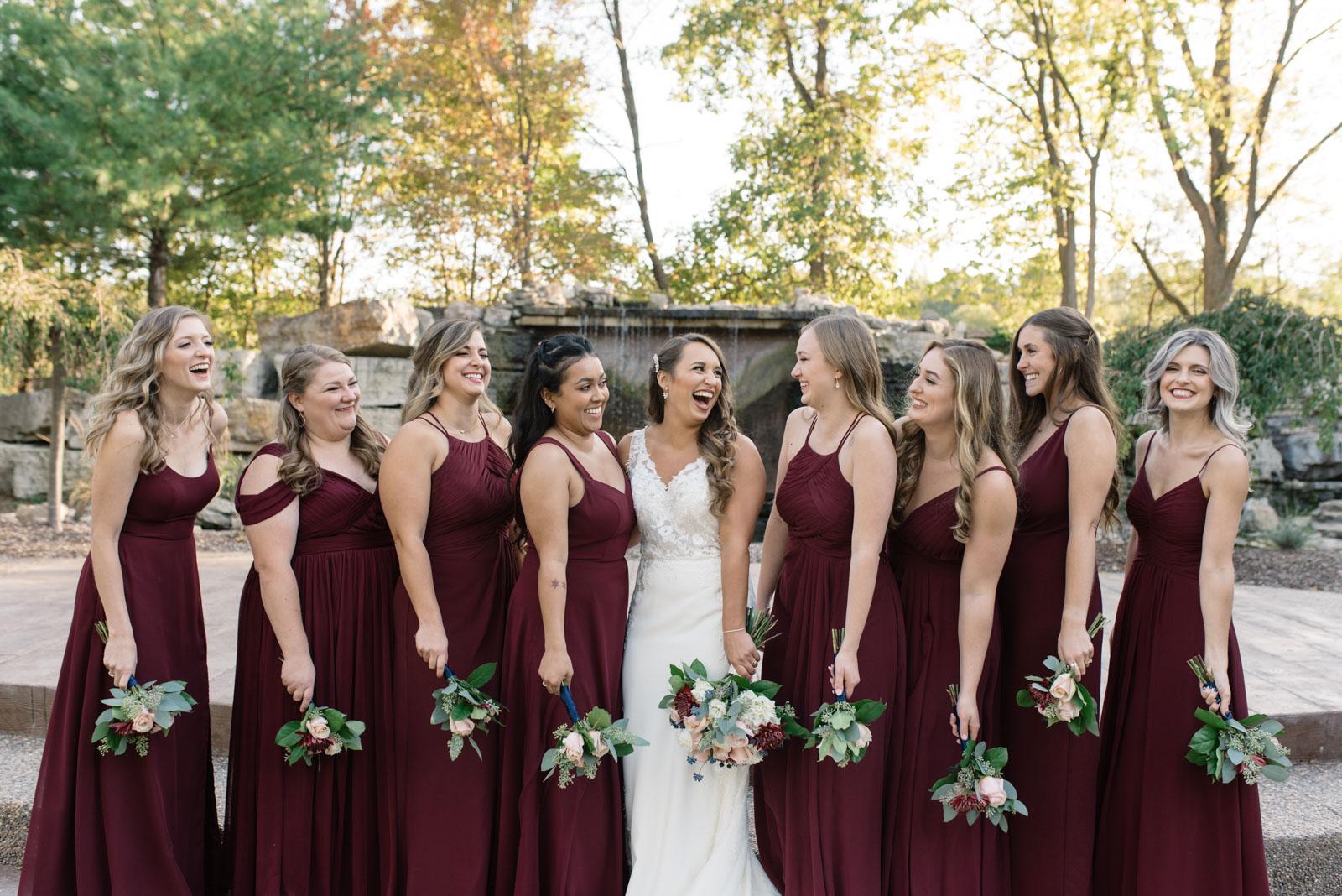 bridal party at bella sala wedding venue in tiffin iowa